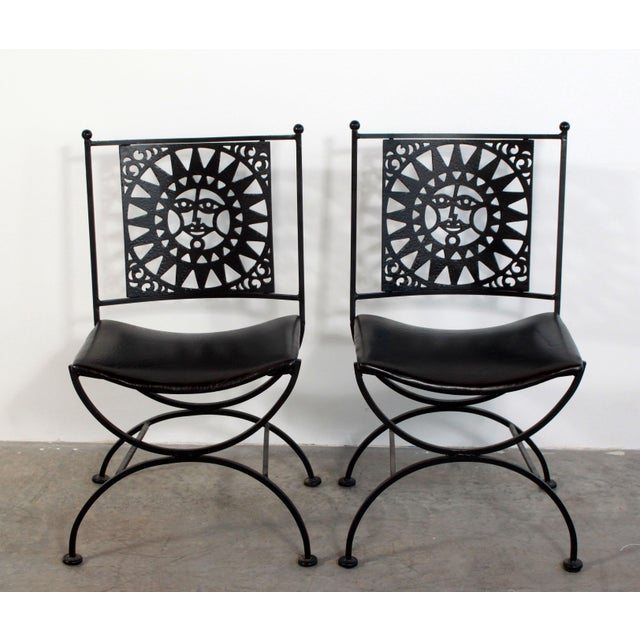 Mid-Century Modern 1950s Mid Century Modern Arthur Umanoff Mayan Sun Cast Iron Chairs - a Pair For Sale - Image 3 of 13