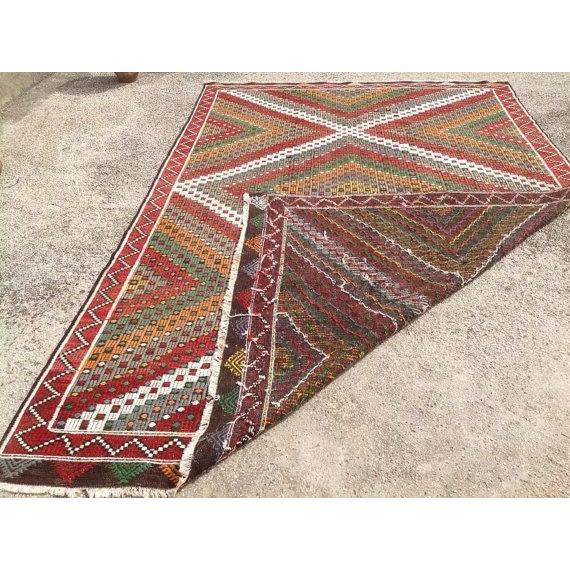 Vintage Turkish Kilim Rug - 6′5″ × 9′10″ For Sale - Image 5 of 5