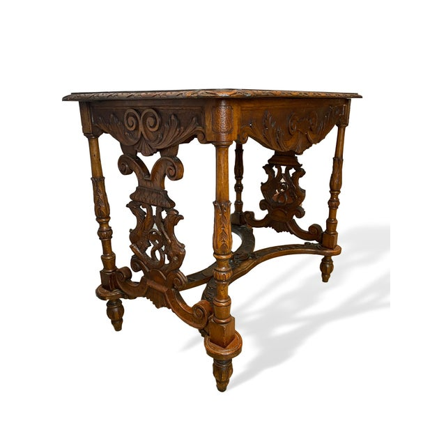 1880s Italian Hand Carved Walnut Center Table For Sale - Image 6 of 9