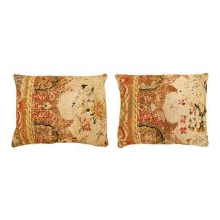 Vintage Art Deco Decorative English Needlepoint Pillows- a Pair For Sale