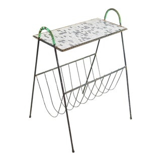 Mid-Century Modern Mosaic Metal Magazine Stand/Table