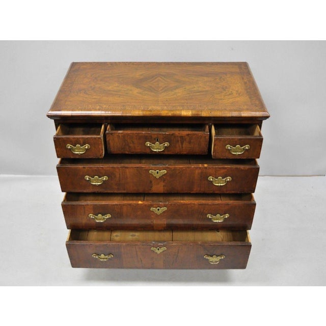 19th Century Queen Anne Burr Walnut Inlaid Chest of Drawers For Sale - Image 4 of 13