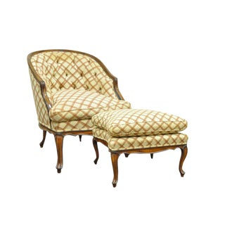 1960s Vintage Country French Louis XV Style Barrel Back Bergere Lounge Chair & Ottoman For Sale