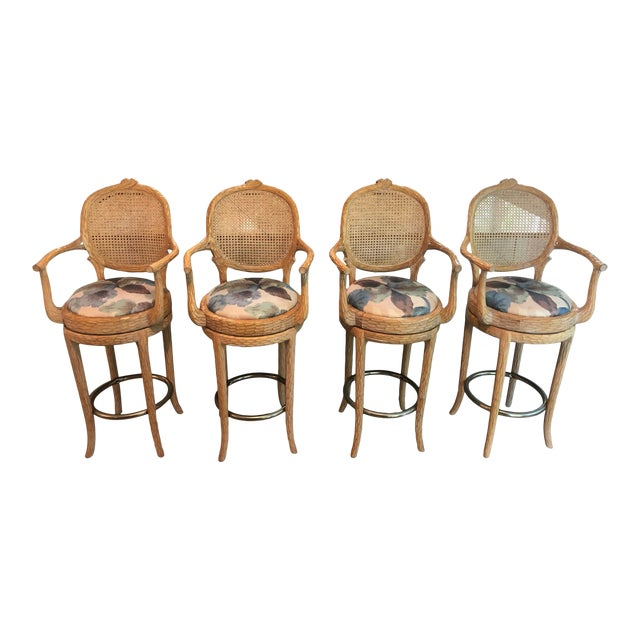 Vintage Faux Bois Cane Back Whitewash Natural Wood Stools With Arms and Brass Footrests - Set of 4 For Sale