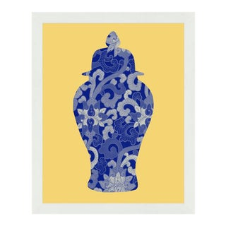 """""""Ginger Jar Silhouette Yellow"""" Framed Wall Art For Sale"""