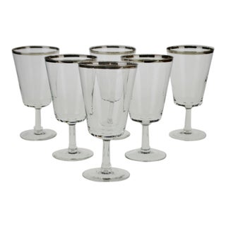 Parisienne Cristallerie D'Arques France Silver Gilt Rimmed Water Goblets - Set of 6 For Sale