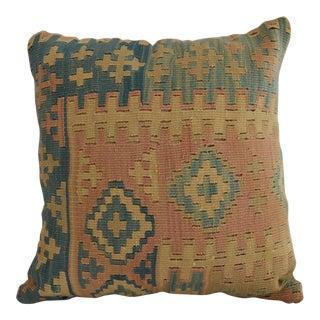 "Antique Handmade Kilim Rug Pillow Cover Throw - 16"" Square For Sale"