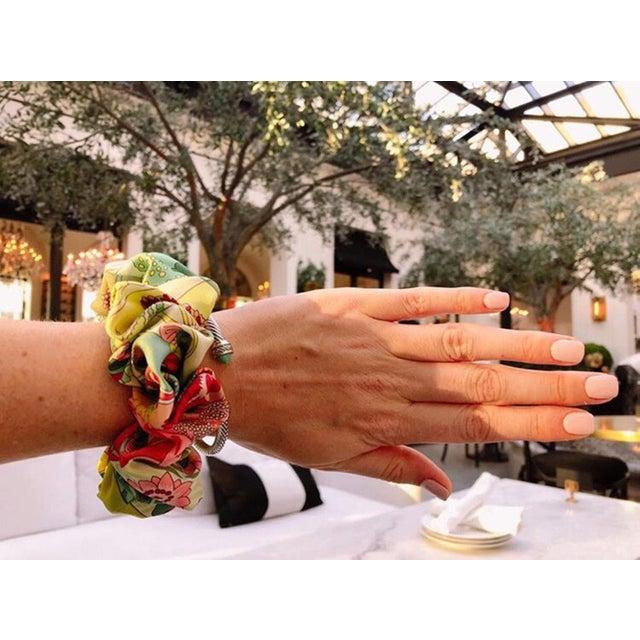 Silk Hermes Handmade Vintage Silk Scarf Scrunchie in Orange and Navy Tropical Print For Sale - Image 7 of 13