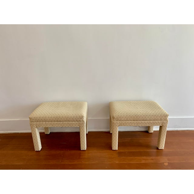 Parsons Style Polka Dot Upholstered Bench - One Available For Sale - Image 10 of 10