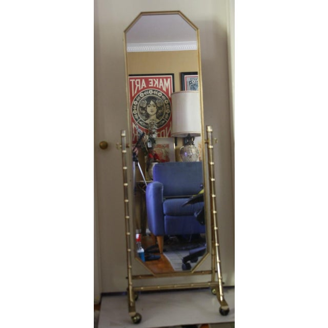 French Regency Style Faux Brass Bamboo Floor Length Mirror For Sale In Los Angeles - Image 6 of 7