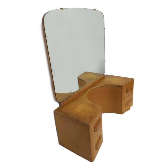 Wood Vintage Mid Century Heywood Wakefield Riviera Vanity With Mirror & Pouff For Sale - Image 7 of 12