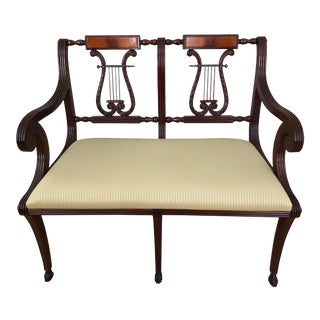 1940s Vintage Italian Mahogany Lyre Motif Back Settee Loveseat For Sale