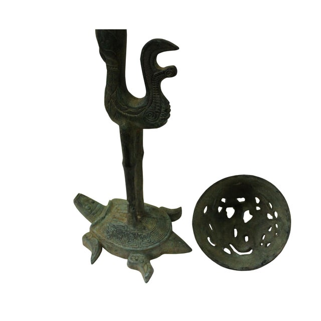 Chinese Oriental Green Bronze-Ware Incense Holder Home Decor Display For Sale - Image 4 of 7