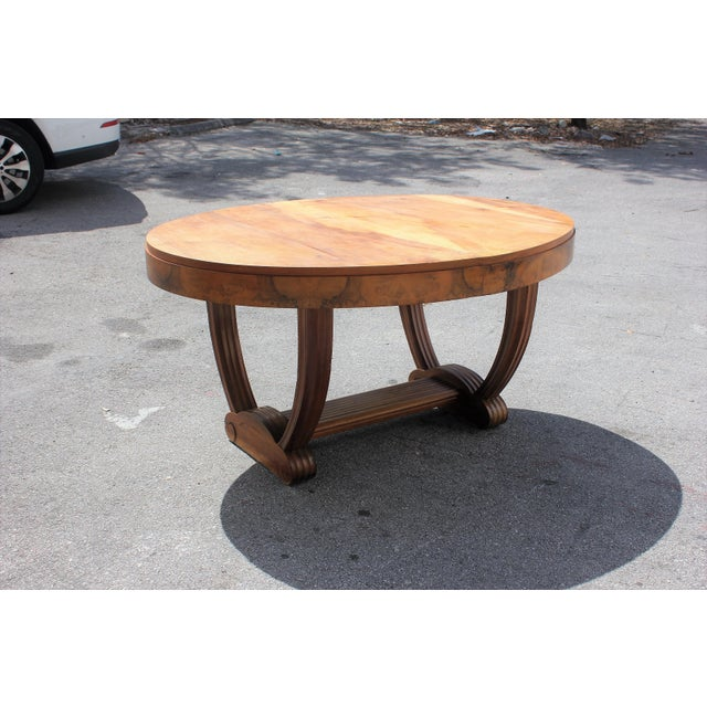 French Art Deco Solid Walnut Oval Dining Table ''U'' Legs Base Circa 1940s - Image 13 of 13