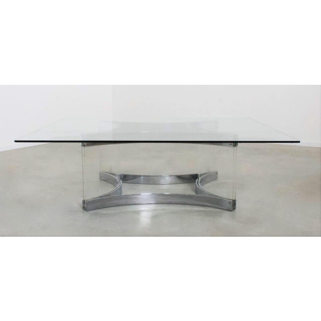 Metal Mid Century Modern Alessandro Albrizzi Chrome & Lucite Coffee Cocktail Table - Judith Krantz Estate For Sale - Image 7 of 7