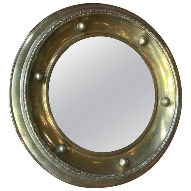 Brass Italian Round Mirror in Brass, 1920 For Sale - Image 7 of 7
