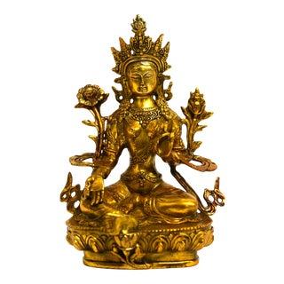 Mid 20th Century Gilt Bronze Tibetan Green Tara For Sale