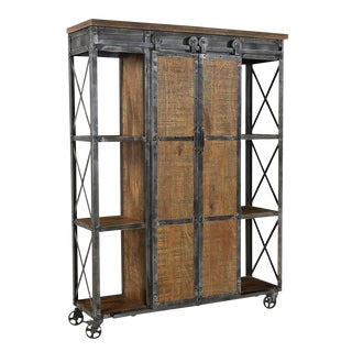 Industrial Farmhouse Storage Cabinet For Sale