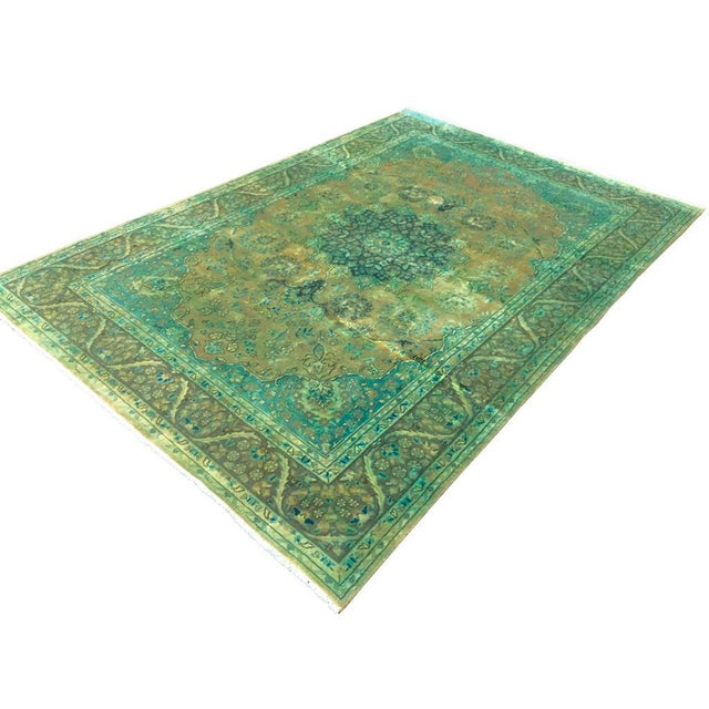 Textile Over Dyed Color Reform Shakita Lt. Brown/Lt. Green Wool Rug - 7'9 X 11'4 For Sale - Image 7 of 7