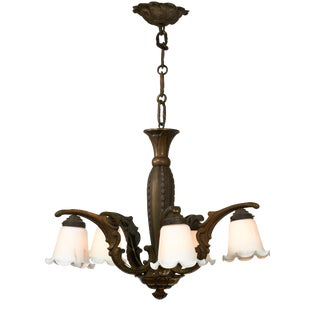 Neo Classical French Style Brass Chandelier With Marbled Milk Glass Shades