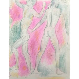 Male Nudes Mixed Media Drawing by James Bone For Sale