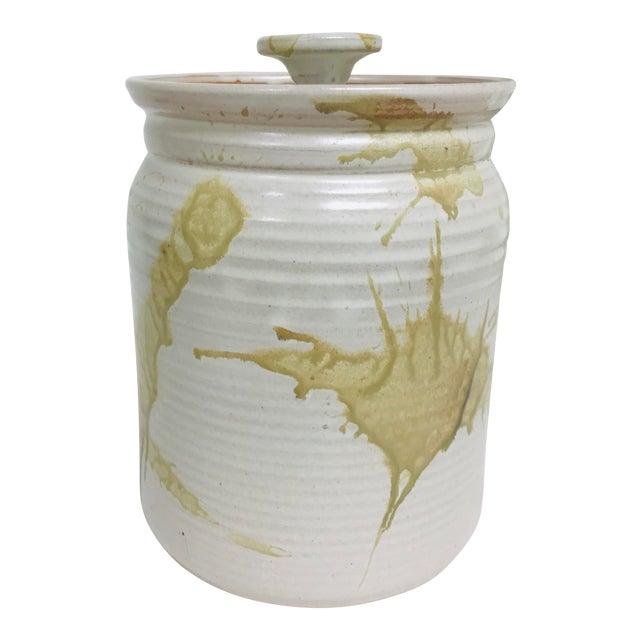 Modern Contemporary Glazed Lidded Crock Canister Studio Pottery Jar For Sale