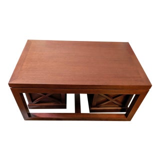 Mid-Century Modern Mahogany Coffee Table and 2 Ottomans With Storage Underneath For Sale