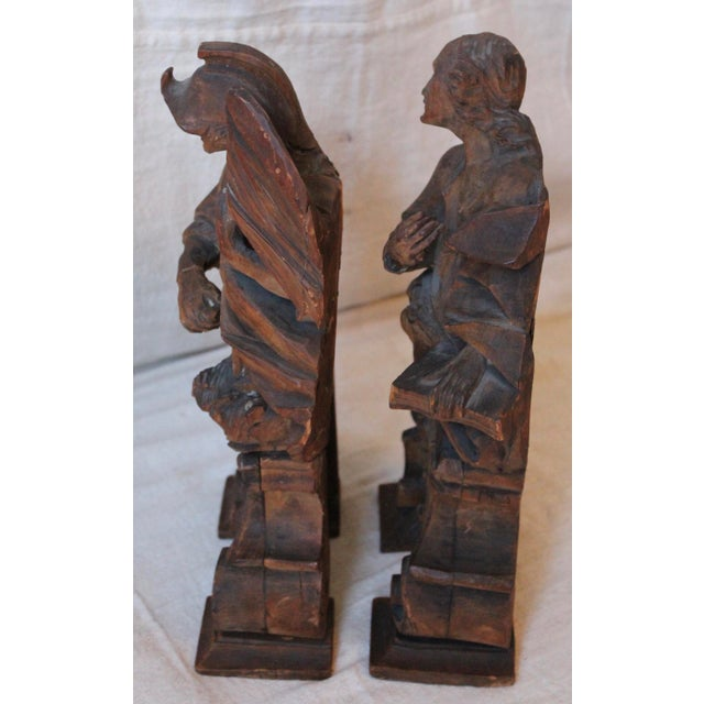 18th C. Wood Figure Carvings - Pair - Image 8 of 10