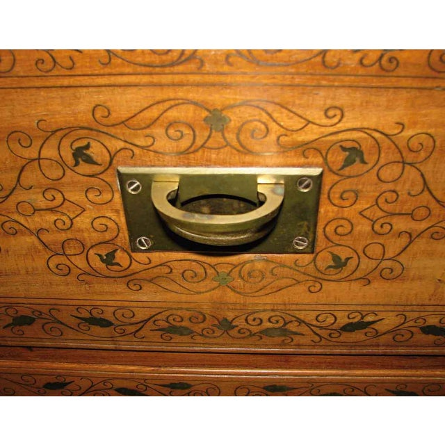 Wood Inlaid Brass Chest of Drawers For Sale - Image 6 of 8