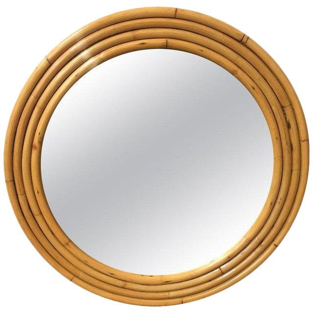 1940s Four-Strand Round Rattan Mirror For Sale