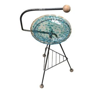 Italian Standing Iron & Glass Ashtray