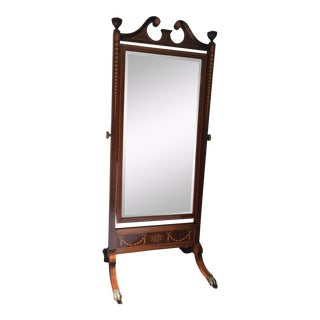 19th Century Edwardian Mahogany Inlaid Cheval Dressing Mirror For Sale