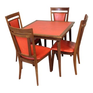 Stakmore Wood Game Table & Chairs For Sale