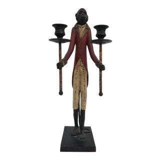 1950s Italian Hand Painted Bronze Candle Holder For Sale