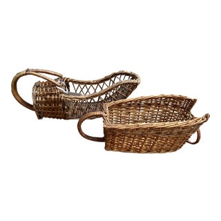 French Wicker Bottle Holders, Pair For Sale