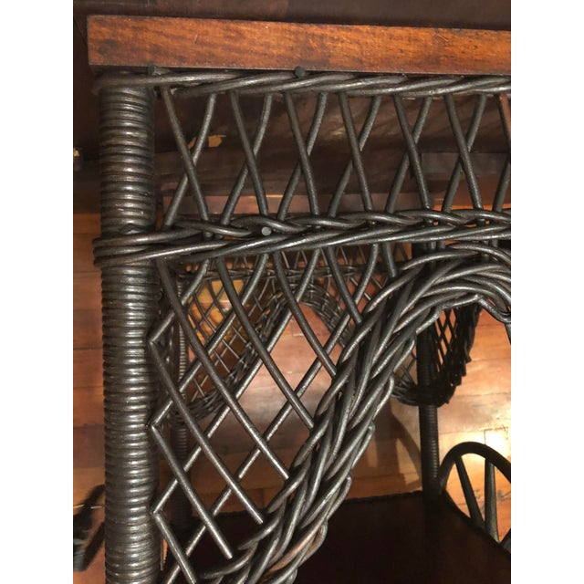 Paper 1890's Victorian Heywood Wakefield Wood Drop Leaf Tea Cart For Sale - Image 7 of 11
