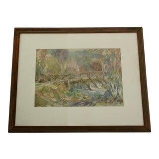Original Old Bridge Watercolor Painting For Sale