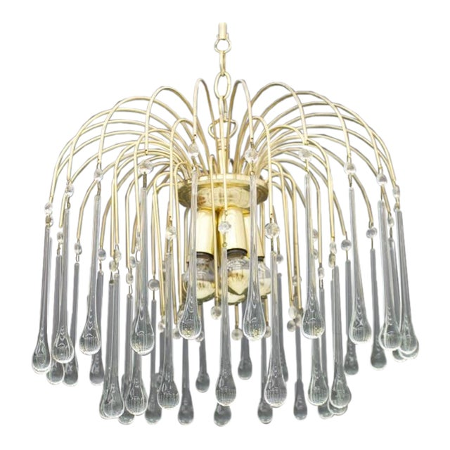 Christoph Palme Waterfall Chandelier Brass and Glass, Germany, 1970s For Sale