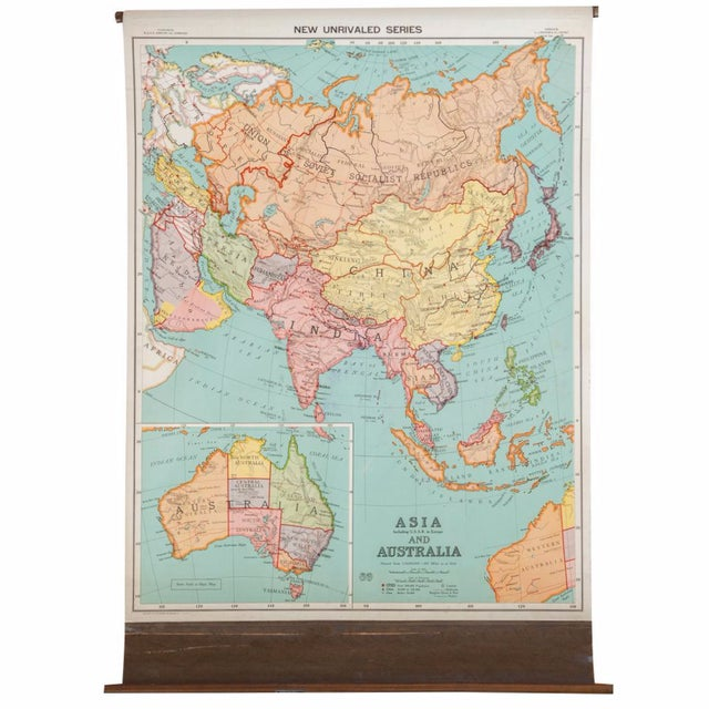 Antique Nystrom Pull Down Map of Asia & Australia For Sale