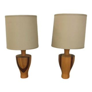 Pair of Mid Century Wood Table Lamps For Sale