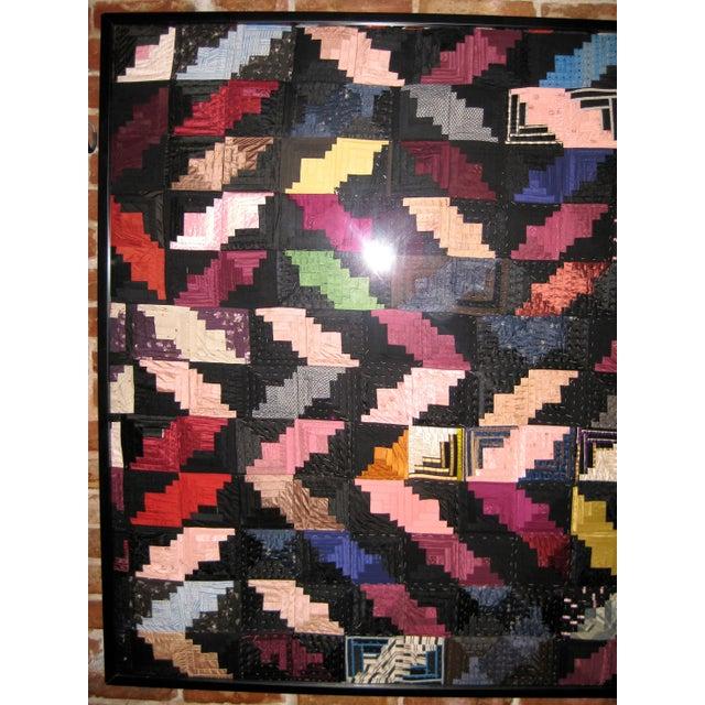 """Framed Antique Satin Log Cabin Quilt - 70"""" x 50"""" For Sale - Image 5 of 6"""