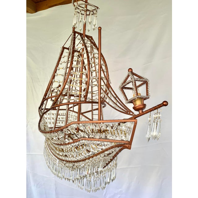 2010s Rose Gold and Crystal Ship Chandelier For Sale - Image 5 of 7
