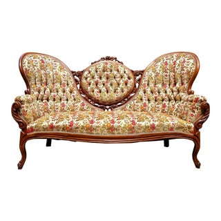 1960s Vintage Victorian Floral Velvet Settee or Sofa For Sale