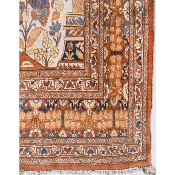 It is very unusual to see a room-sized rug with the design of a smaller niched or Directional piece. This splendid Tabriz...