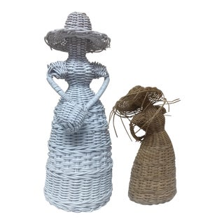 Vintage Primitive Wicker Ladies- 2 Pc For Sale