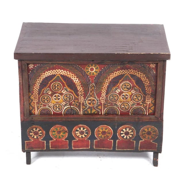 Mid 19th Century Mid 19th Century Moroccan Painted Wooden Chest For Sale - Image 5 of 5
