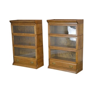 Antique Oak Pair 3 Stack Barrister Bookcases With Drawer For Sale