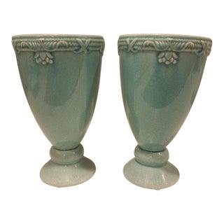 Aqua Glazed Ceramic Urns - Pair For Sale