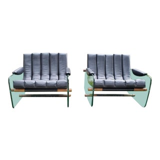 1970s Vintage Mid-Century Modern Mirox Vinyl Upholstered Glass and Teak Lounge Chairs - A Pair For Sale