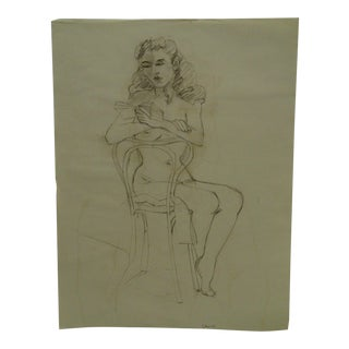"""Tom Sturges Jr. 1950 """"Sitting on the Chair Nude"""" Original Drawing on Paper For Sale"""